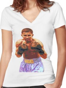 GGG Gennady Golovkin - Red/Bronze effect Boxing Women's Fitted V-Neck T-Shirt