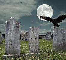 Graveyard with Fullmoon by Delmas Lehman