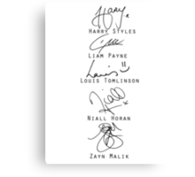 One Direction Signatures Canvas Print