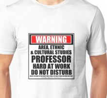 Warning Area, Ethnic & Cultural Studies Professor Hard At Work Do Not Disturb Unisex T-Shirt