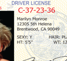 Marilyn Monroe Driver's License Sticker