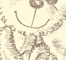 Teddy bear Pencil Drawing Sticker