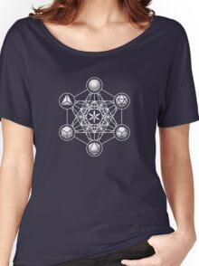 Platonic Solids, Metatrons Cube, Flower of Life Women's Relaxed Fit T-Shirt