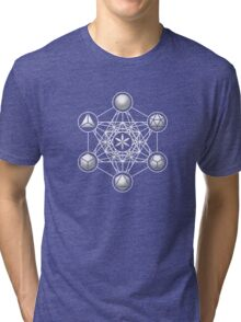 Platonic Solids, Metatrons Cube, Flower of Life Tri-blend T-Shirt