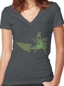 Sceptile Women's Fitted V-Neck T-Shirt
