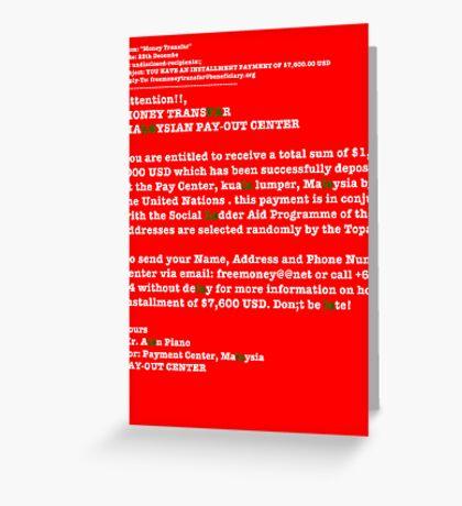 Fa La La Spam Christmas Card Greeting Card