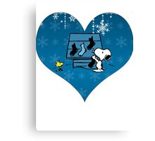 Snoopy Blue Holiday  Canvas Print