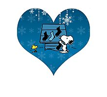 Snoopy Blue Holiday  Photographic Print