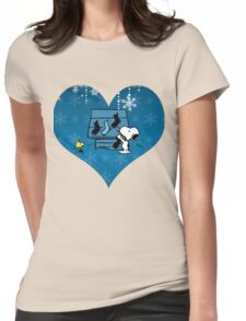 Snoopy Blue Holiday  Womens Fitted T-Shirt