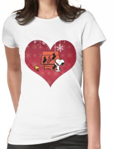 Snoopy Red Holiday Womens Fitted T-Shirt