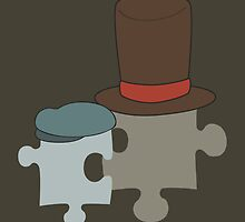 Professor Layton and Luke Puzzle Pieces by MarioGirl64