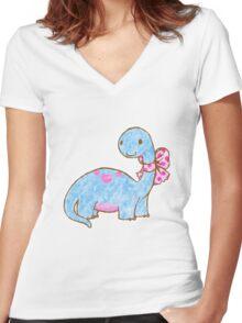 Ribbon Dinosaur Women's Fitted V-Neck T-Shirt