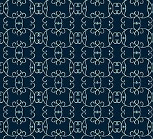 Curly Round Design on Navy by pyktispix