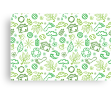 Eco symbols line art pattern Canvas Print