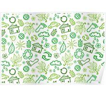 Eco symbols line art pattern Poster