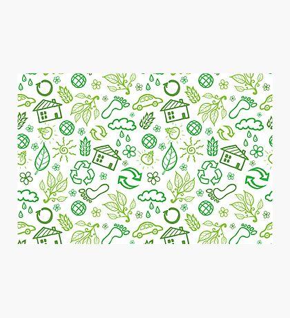 Eco symbols line art pattern Photographic Print