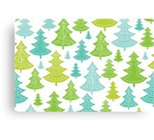 Decorative Christmas Trees Pattern Canvas Print