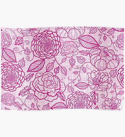 Pink lace flowers pattern Poster