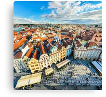 Traditional house roofs in Prague Canvas Print