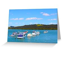 Blue and boats in Paihia, New Zealand, NZ Greeting Card
