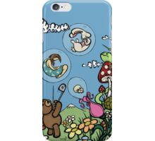 Teddy Bear And Bunny - The Bubble Flower iPhone Case/Skin