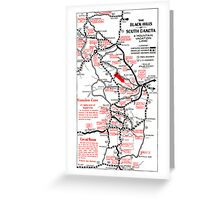 1938 Black Hills South Dakota Road Map Greeting Card