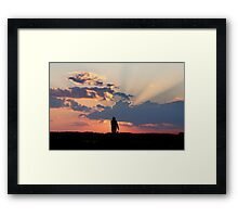 Fisherman Memorial at Sunset Framed Print