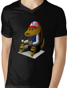 Baseball Dog Mens V-Neck T-Shirt