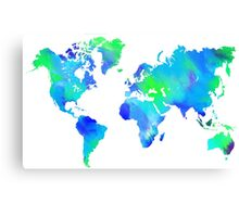 Blue-Green Painted World Map Canvas Print