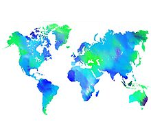 Blue-Green Painted World Map Photographic Print
