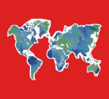 Blue-Green Painted World Map One Piece - Short Sleeve