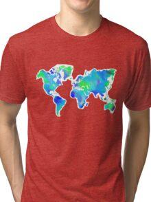 Blue-Green Painted World Map Tri-blend T-Shirt