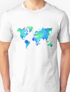 Blue-Green Painted World Map Unisex T-Shirt