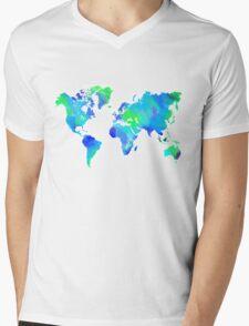 Blue-Green Painted World Map T-Shirt