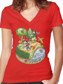 Red Version Women's Fitted V-Neck T-Shirt
