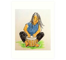 Daily Drawing Nine - drumming Art Print