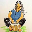 Daily Drawing Nine - drumming by carol selchert
