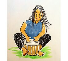 Daily Drawing Nine - drumming Photographic Print