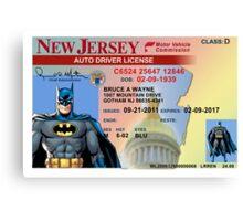 Batman Driver's License Canvas Print