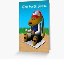 Get Well Soon Baseball Dog  Greeting Card