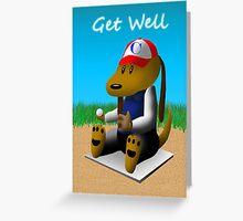 Well Soon Baseball Dog  Greeting Card