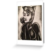 Catwoman Charcoal Drawing Greeting Card