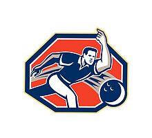 Bowler Throw Bowling Ball Retro by patrimonio