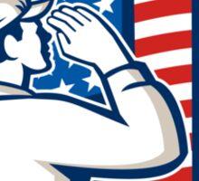 American Soldier Salute Flag Retro Sticker