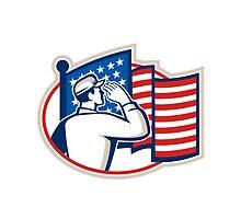 American Soldier Salute Flag Retro by patrimonio