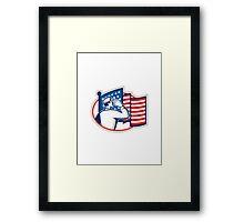 American Soldier Salute Flag Retro Framed Print