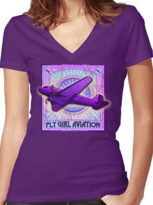 FLY GIRL AVIATION VINTAGE AIRPLANE GEAR Women's Fitted V-Neck T-Shirt