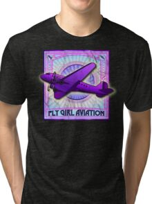 FLY GIRL AVIATION VINTAGE AIRPLANE GEAR Tri-blend T-Shirt