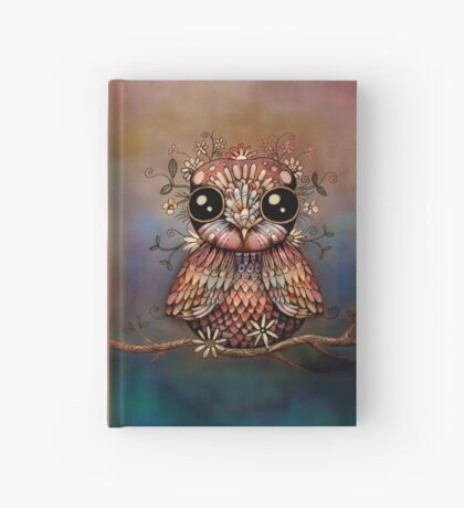 little rainbow flower owl Hardcover Journal