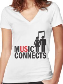 Music Connects Women's Fitted V-Neck T-Shirt